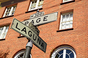 City Center at Page and Laguna street sign